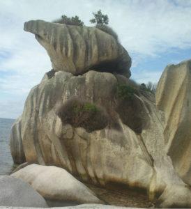 Batu burung yang terkenal dan menjadi salah satu icon wisata belitung. Batu granite yang mirip burung sedang mandi di laut.
